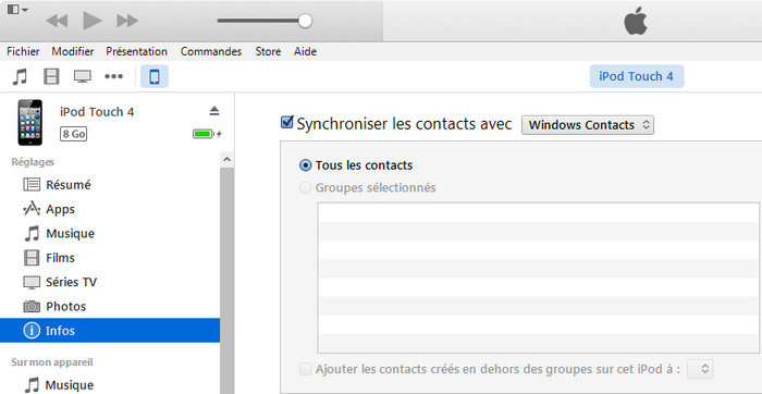 sauvegarder iPhone Contacts avec iTunes